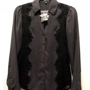 Express gray & black Portofino dress shirt XS